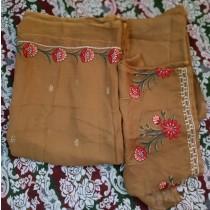 Ghauri G Fancy Krinkle Shiffon Suit 3-Piece For Women Brown