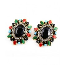 A.M Crystal Gold Plated Earrings For Women (0025)