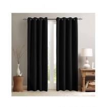 A One Curtains Silk Satin 2 Pcs Black