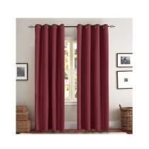 A One Curtains Silk Satin 2 Pcs Maroon
