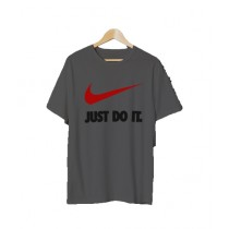 Actozi Clothings Just Do It Printed T-Shirt For Men Grey