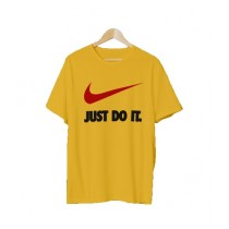 Actozi Clothings Just Do It Printed T-Shirt For Men Yellow