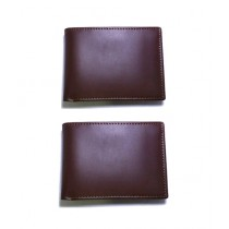 Afreeto Brown Leather Wallet Pack Of 2