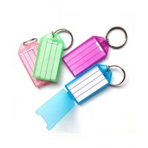 Afreeto Name Tag Key Chain With label Rectangle Shape Pack Of 12