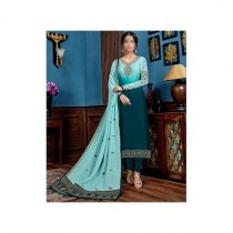 Aj Dukan Embroidered Satin Dress For Women (0213)