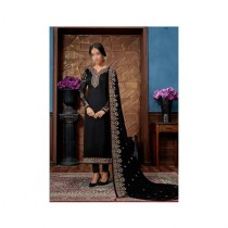 Aj Dukan Embroidered Satin Dress For Women (0214)