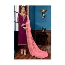 Aj Dukan Embroidered Satin Dress For Women (0216)