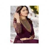 Aj Dukan Embroidered Silk Maxi Dress For Women (0205)