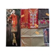 Al-Burhan Master Embroidered Linen With Borri Shawl (0005)