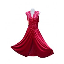 Al-Fakhir Bridal Silk Gown Nighty For Women Red