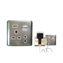 Aligee Phone Wall Mount Holder + Multi Function Socket + USB