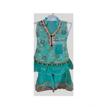 Allfashion Butterfly Frock For Girls Blue (0001)