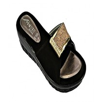 Anee Shoes Rexine And PU Sole Slippers For Women Black