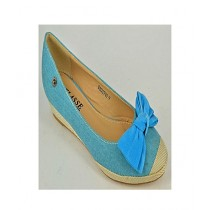 Anee Shoes Denim Flat Pump For Women Blue