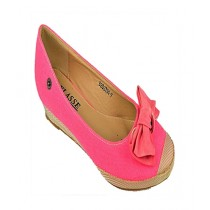 Anee Shoes Denim Flat Pump For Women Pink