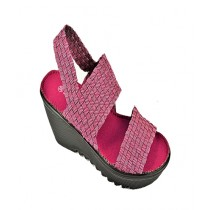 Anee Shoes Elastic & PU Strappy Sandal For Women Maroon