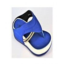 Anee Shoes Rexine And PU Sole Flip Flop For Women Blue