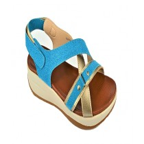 Anee Shoes Rexine And PU Sole Flip Flop Sandal For Women Blue