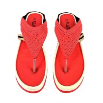 Anee Shoes Rexine And PU Sole Slippers For Women Red