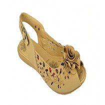 Anee Shoes Rexine And Rubber Flat Sandal For Women Fawn
