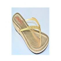 Anee Shoes Rexine Block Heel Slippers For Women Golden