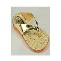 Anee Shoes Rexine Casual Slipper For Women Gold