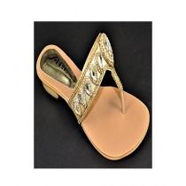 Anee Shoes Rexine Slipper For Women Golden