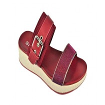 Anee Shoes Rexine & PU Slippers For Women Maroon