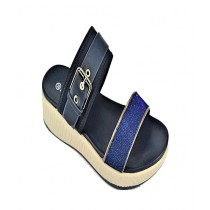 Anee Shoes Rexine & Rubber Flip Flop For Women Blue