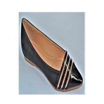 Anee Shoes Rexine & Rubber Sole Flat Pump For Women Black