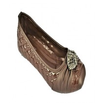 Anee Shoes Rexine & Rubber Sole Flat Pump For Women Brown
