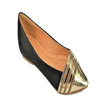 Anee Shoes Rexine & Rubber Sole Flat Pump For Women Gold