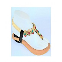 Anee Shoes Rexine Sandal For Women Golden