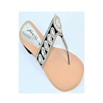 Anee Shoes Rexine Slipper For Women Silver
