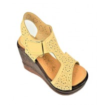 Anee Shoes Rexine Wedge For Women Beige