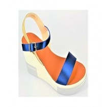Anee Shoes Satin Wedge For Women Blue