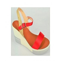 Anee Shoes Satin Wedge For Women Red
