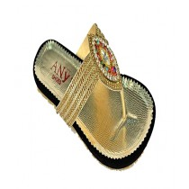 Anee Shoes Suede & Rexine Slipper For Women Golden