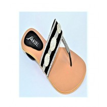 Anee Shoes Suede Slipper For Women Black & Silver