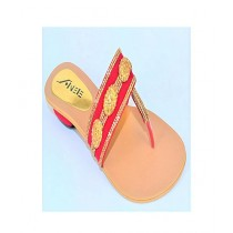 Anee Shoes Suede Slipper For Women Red & Golden