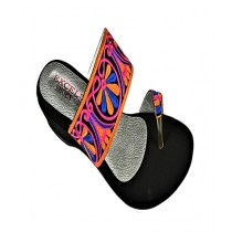 Anee Shoes Suede Wedge For Women Black & Multicolor
