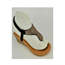 Anee Shoes Suede Wedge For Women Black