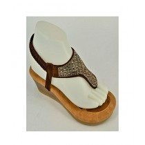 Anee Shoes Suede Wedge For Women Brown