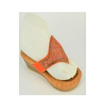 Anee Shoes Suede Wedge For Women Orange