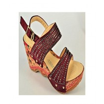 Anee Shoes Suede Wedge For Women Red
