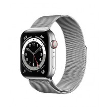 Apple Watch Series 6 44mm Silver Stainless Steel Case With Milanese Loop Strap GPS Cellular