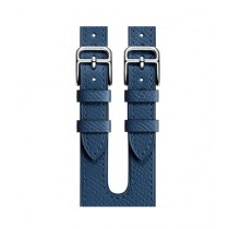 Apple Epsom Leather Double Buckle Cuff Band For Watch Hermes 38mm - Bleu Agate (MNHU2)