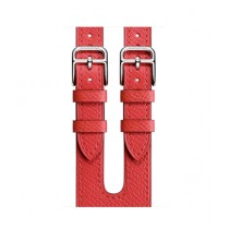 Apple Epsom Leather Double Buckle Cuff Band For Watch Hermes 38mm - Rose Jaipur (MNHT2)