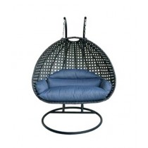 AS Shopping Zone Patio Rattan Swing With Stand & Cushion Large Sized Black