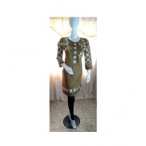 ASH Collection Embroidered Kurti For Women Brown